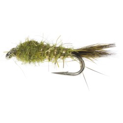 Flashback Gold Ribbed Hare's Ear Nymph Fly - Dozen in Olive