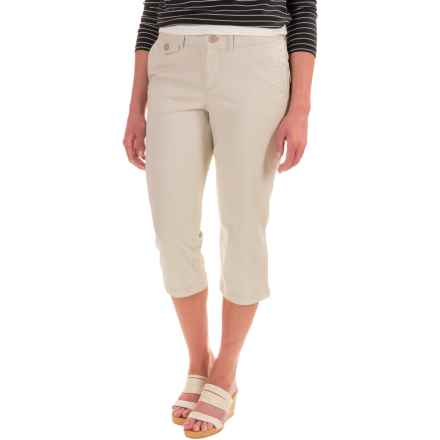 Flat-Front Capris - Cotton Blend (For Women) in Khaki - 2nds