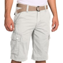 Flat Front Cargo Shorts with Webbed Belt - 6-Pocket (For Men) in White - 2nds