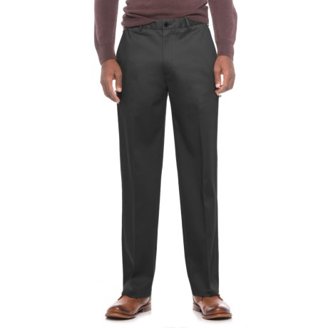 Flat-Front Classic Fit Pants (For Men) in Black