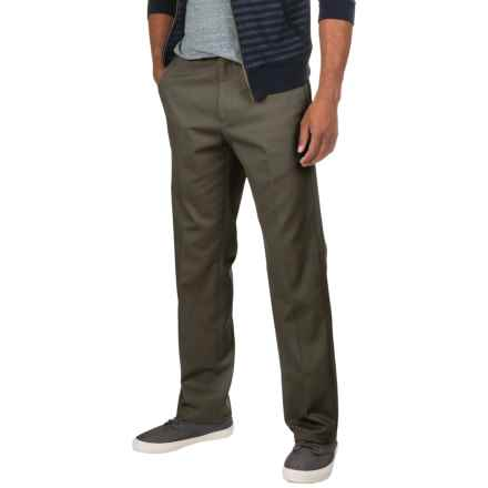 Flat-Front Classic Fit Twill Pants (For Men) in Charcoal - 2nds
