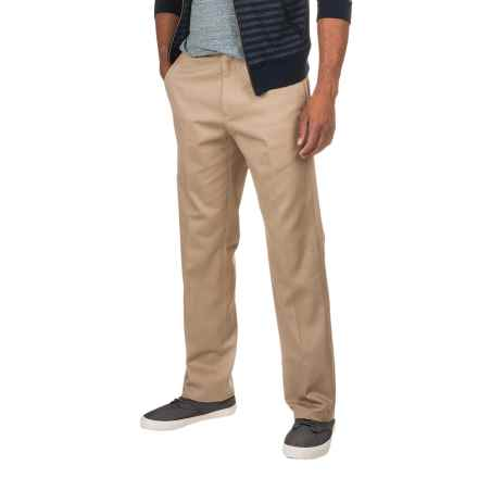 Flat-Front Classic Fit Twill Pants (For Men) in Khaki - 2nds