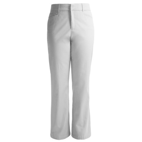 Flat Front Cotton Stretch Pants (For Women) in White