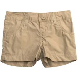 Flat Front Poplin Shorts (For Girls) in Camel