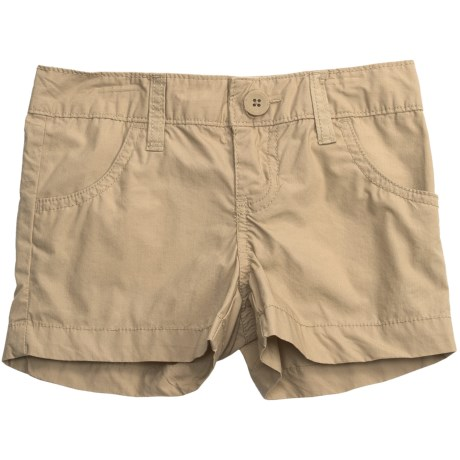 Flat Front Poplin Shorts (For Girls) in Camel