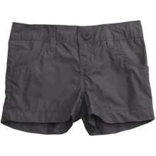 Flat Front Poplin Shorts (For Girls) in Charcoal - Closeouts