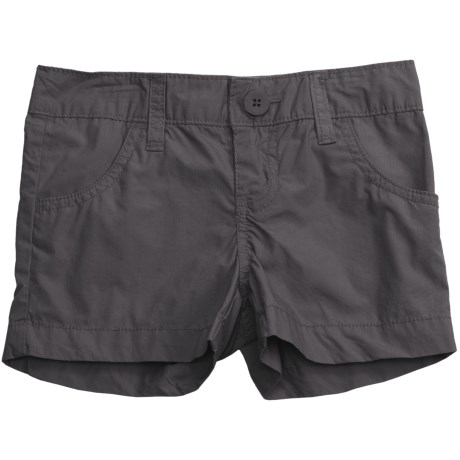 Flat Front Poplin Shorts (For Girls) in Charcoal