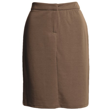 Flat Front Stretch Skirt - Knit (For Women) in Brown