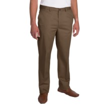 Flat-Front Twill Pants (For Men) in Dark Taupe - Closeouts