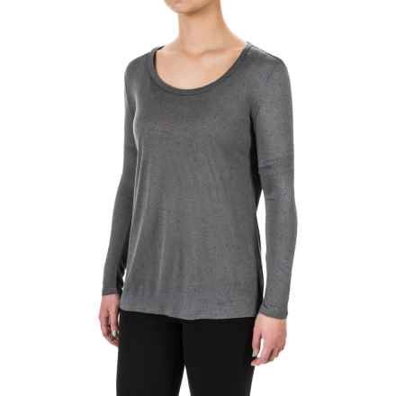 Flecked Round Neck Shirt - Long Sleeve (For Women) in Grey - 2nds