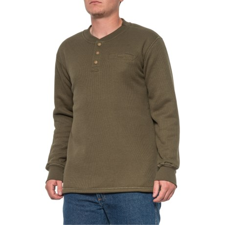 Fleece-Lined Henley Shirt - Long Sleeve (For Men) - OLIVE (XL )