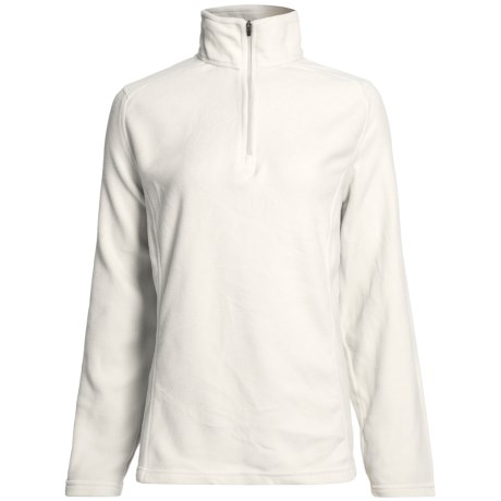 Fleece Pullover Jacket - Zip Neck (For Women) in Brown