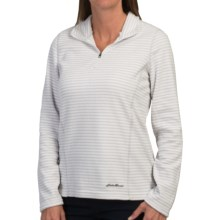 Fleece Pullover Shirt - Zip Neck, Long Sleeve (For Women) in Grey Stripe - 2nds