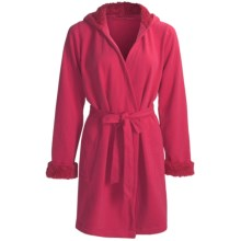 Fleece Robe with Sherpa Lining (For Women) in Red - 2nds