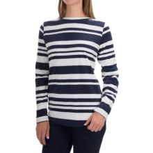 Fleece Shirt - Crew Neck, Long Sleeve (For Women) in Marianas Blue Stripe - 2nds