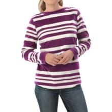 Fleece Shirt - Crew Neck, Long Sleeve (For Women) in Purple/White - 2nds