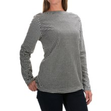 Fleece Shirt - Crew Neck, Long Sleeve (For Women) in White/Black Houndstooth - 2nds