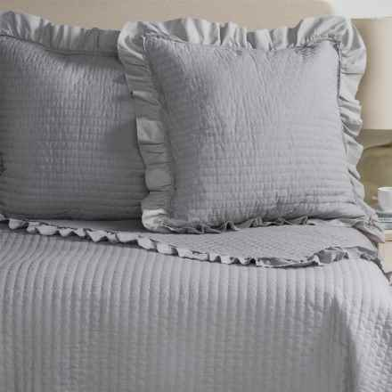 Fleur de Lis Blue Circle Dot Ruffled Quilted Pillow Shams - Euro, Set of 2 in Grey - Closeouts