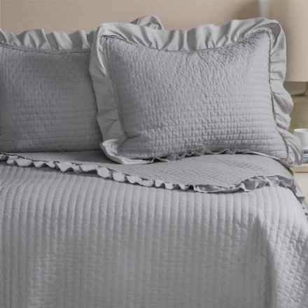 Fleur de Lis Blue Circle Dot Ruffled Quilted Pillow Shams - King, Set of 2 in Grey - Closeouts