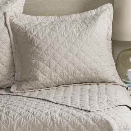 Fleur De Lis Blue Diamond Quilted Pillow Sham - Standard in Natural - Closeouts