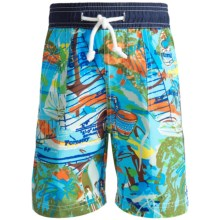 Floatimini Swim Trunks - Built-In Inner Briefs (For Boys) in Blue Achors - Closeouts