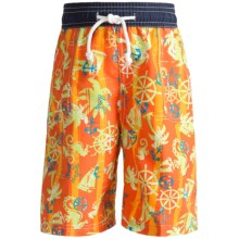 Floatimini Swim Trunks - Built-In Inner Briefs (For Boys) in Orange Anchors - Closeouts