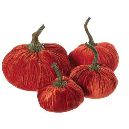 Flora Bunda Velvet Pumpkin Decor Set - 4-Piece in Orange - Closeouts