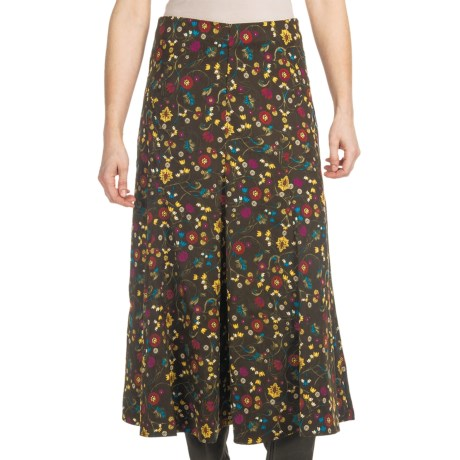 Floral Moleskin Skirt (For Women) in Brown Multi