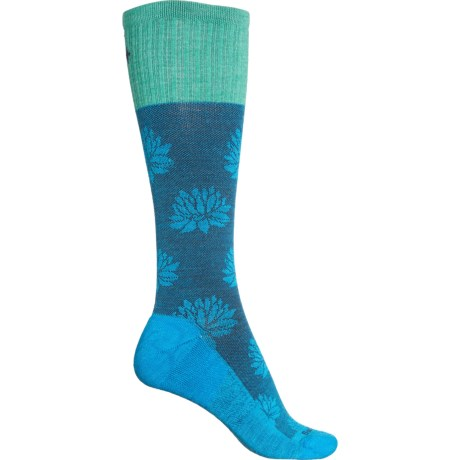 Floral Pattern Moderate Graduated Compression Socks - Over the Calf (For Women) - TURQUOISE (S/M ) -  Sockwell