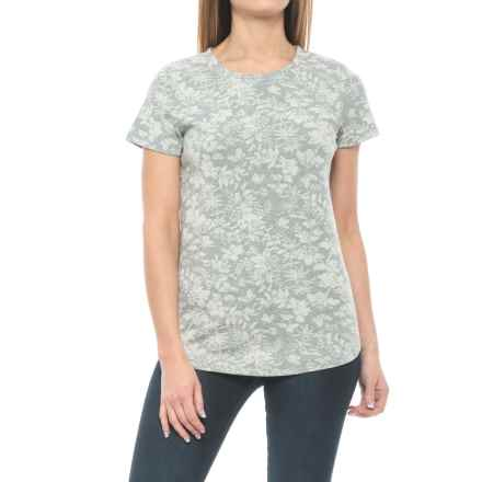Floral Print Knit Shirt - Short Sleeve (For Women) in Grey Floral - Closeouts