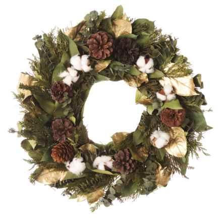"Floral Treasure 18"" Preserved Salal, Eucalyptus, Cedar, Pine Cones and Cotton Bracket Wreath in Green/Brown Multi - Closeouts"