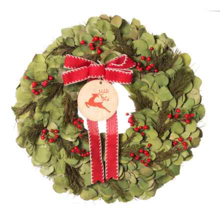 """Floral Treasure 22"""" Dried Silver Dollar, Preserved Cedar and Red Berry Wreath in Red - Closeouts"""