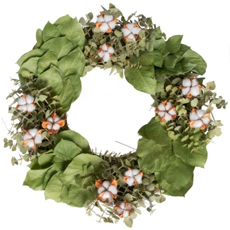 "Floral Treasure Natural Dried Eucalyptus, Salal and Cotton Bracket Wreath - 18"" in White/Green"
