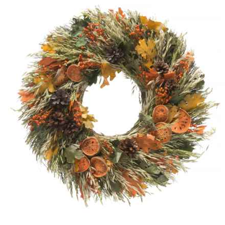 "Floral Treasure Oats, Sudan, Flax, Maple Leaves, Pine Cones and Quinces Wreath - 22"" in Orange/Green/Brown - Closeouts"