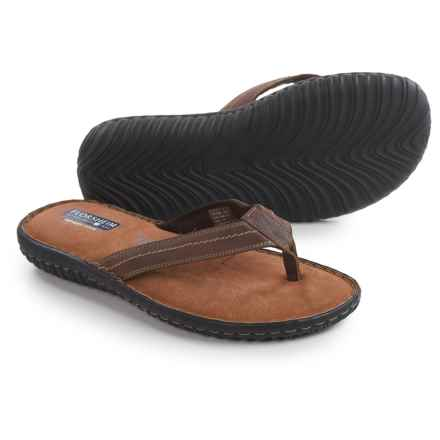 Florsheim Coastal Flip-Flops - Leather (For Men) in Brown Crazy Horse - Closeouts