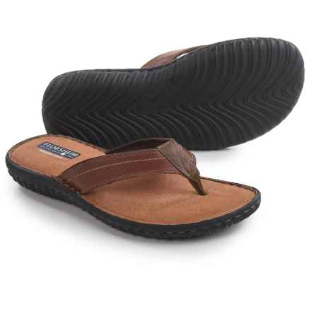 Florsheim Coastal Flip-Flops - Leather (For Men) in Cognac - Closeouts