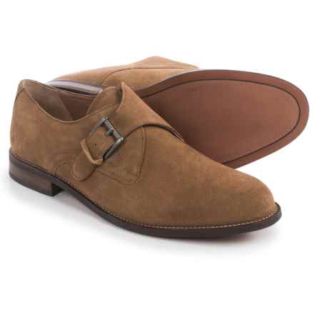 Florsheim Pascal Plain-Toe Monk Strap Shoes - Suede (For Men) in Stone - Closeouts