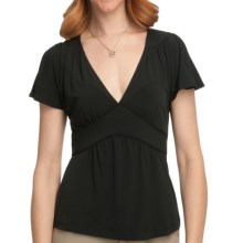 Flutter Sleeve Jersey Shirt - Tie Back, Short Sleeve (For Women) in Black - 2nds