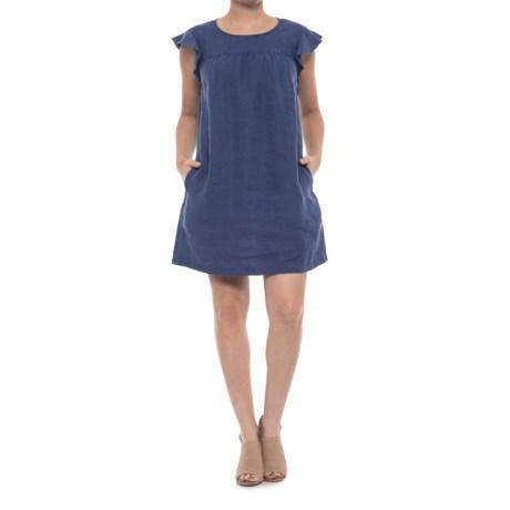 Flutter-Sleeve Linen Dress - Short Sleeve (For Women)