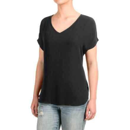 Fluttery V-Neck Shirt - Short Sleeve (For Women) in Black - 2nds