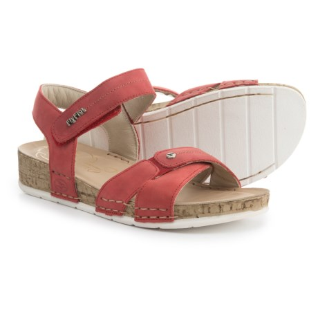 Fly Flot Cross Band Wedge Sandals - Leather (For Women) in Red