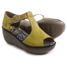 Fly London Boda Platform Wedge Sandals - Leather (For Women) in Lemon/Black - Closeouts