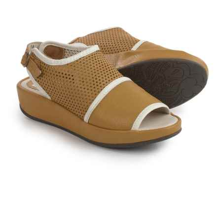 Fly London Brem Platform Sandals - Leather (For Women) in Ochre/Off White - Closeouts