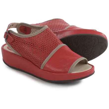 Fly London Brem Platform Sandals - Leather (For Women) in Scarlet/Mushroom - Closeouts