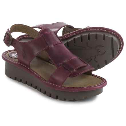 Fly London Kani Sandals - Leather (For Women) in Magenta - Closeouts