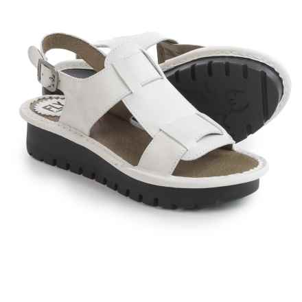 Fly London Kani Sandals - Leather (For Women) in Off White/Beige - Closeouts