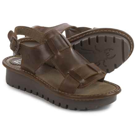 Fly London Kani Sandals - Leather (For Women) in Olive - Closeouts
