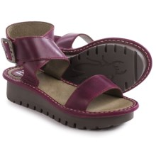 Fly London Kitz Platform Sandals - Leather (For Women) in Magenta - Closeouts
