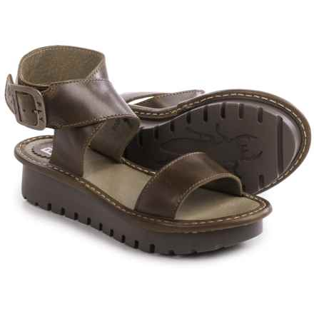 Fly London Kitz Platform Sandals - Leather (For Women) in Olive - Closeouts