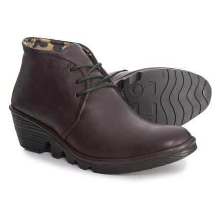 fab271517e3 Fly London Pert Wedge Booties - Leather (For Women) in Oxblood - Closeouts